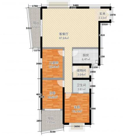 天心电子世界大厦3室1厅1卫1厨123.89㎡户型图