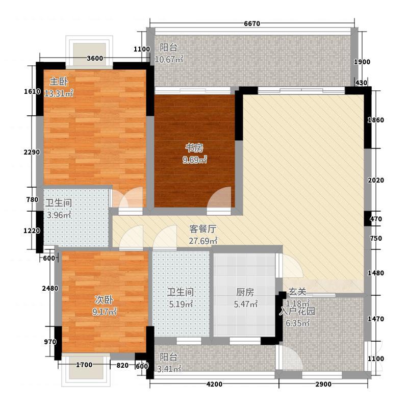 恒大・青年城13126.12㎡C-户型3室2厅2卫1厨
