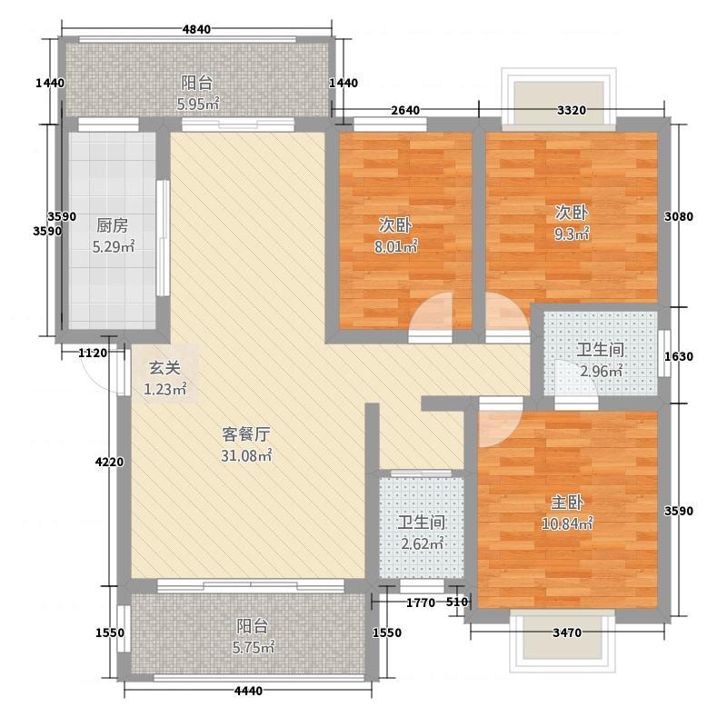水都欣城124.47㎡6#楼户型3室2厅2卫1厨