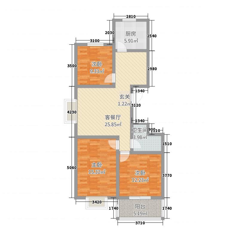 明福苑113.00㎡D户型3室2厅1卫1厨