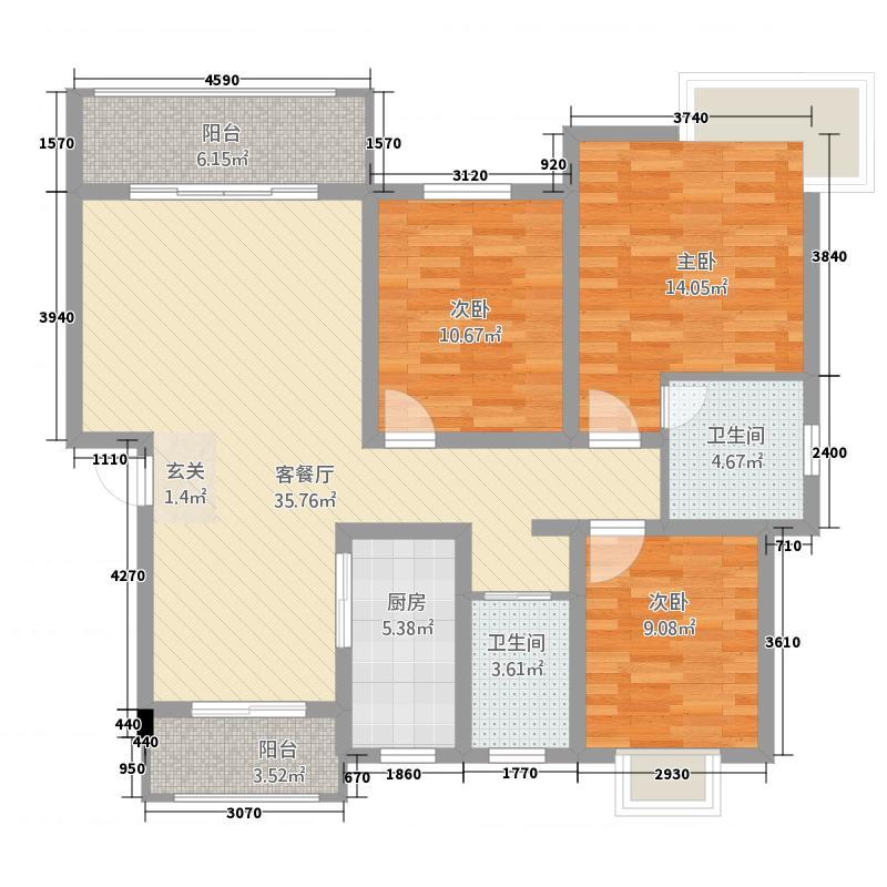水都欣城125.66㎡7#楼户型3室2厅2卫1厨