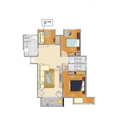 保利海上五月花3室1厅2卫1厨89.00㎡户型图