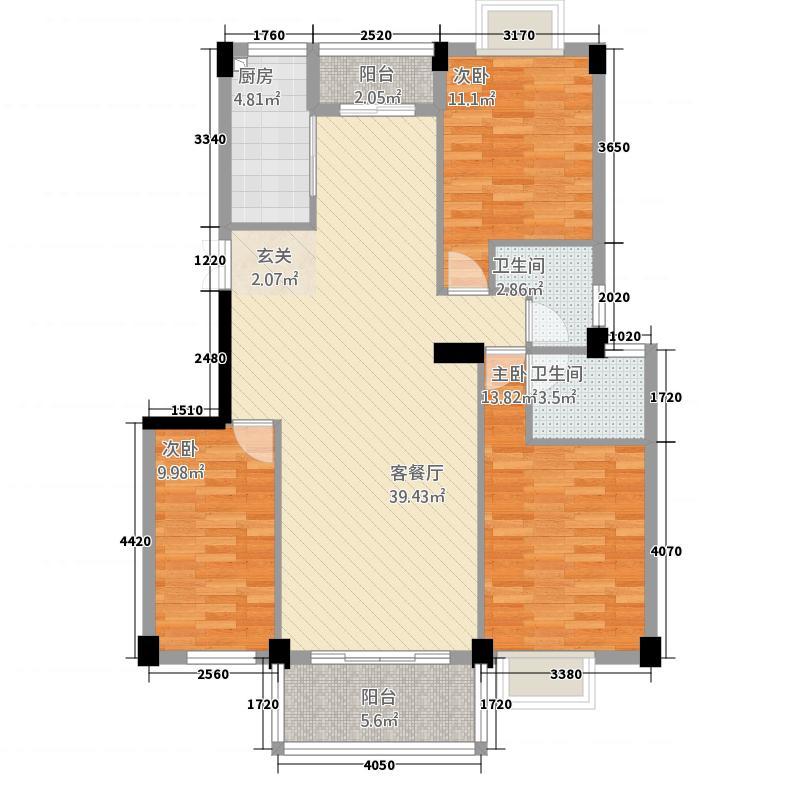 恒辉大景城131.20㎡3#4#楼B户型3室2厅2卫1厨