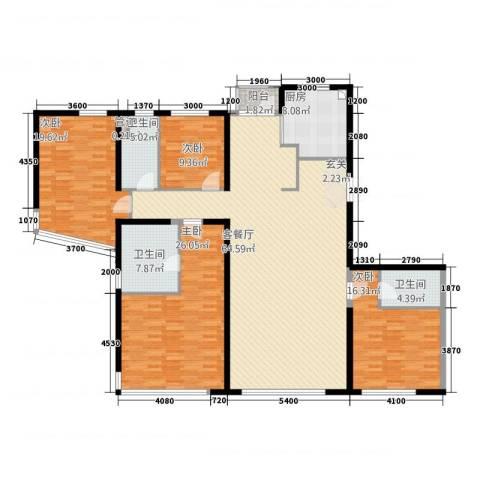 公园大道4室1厅3卫1厨232.00㎡户型图