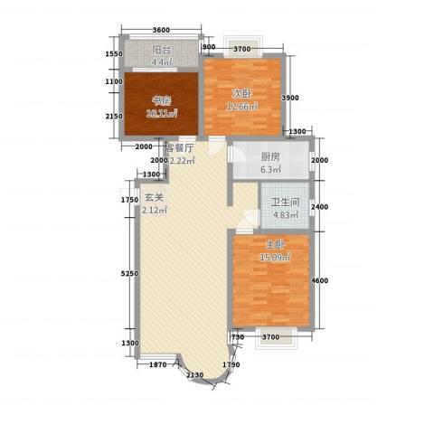 山水太阳城3室1厅1卫1厨135.00㎡户型图