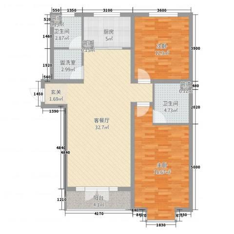 里仁花园二期2室2厅2卫1厨119.00㎡户型图