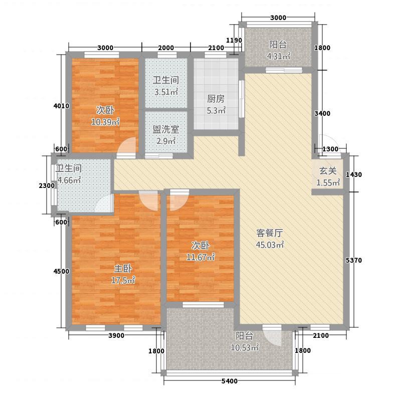江景兰庭134.50㎡户型3室2厅2卫1厨