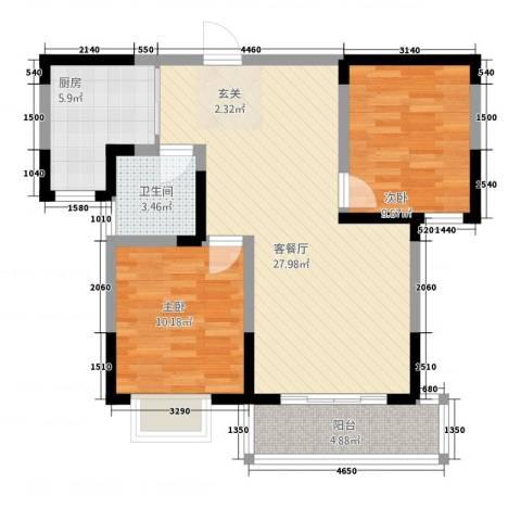 新惠园2室1厅1卫1厨95.00㎡户型图