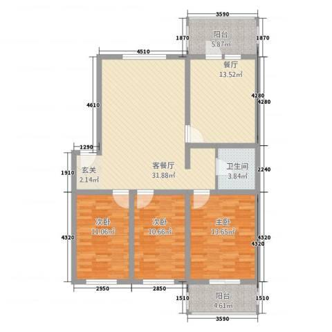 榆次佳地花园3室2厅1卫0厨135.00㎡户型图