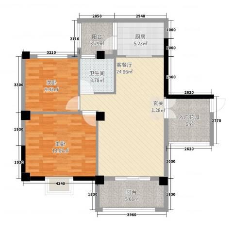 未来城2室1厅1卫1厨73.11㎡户型图
