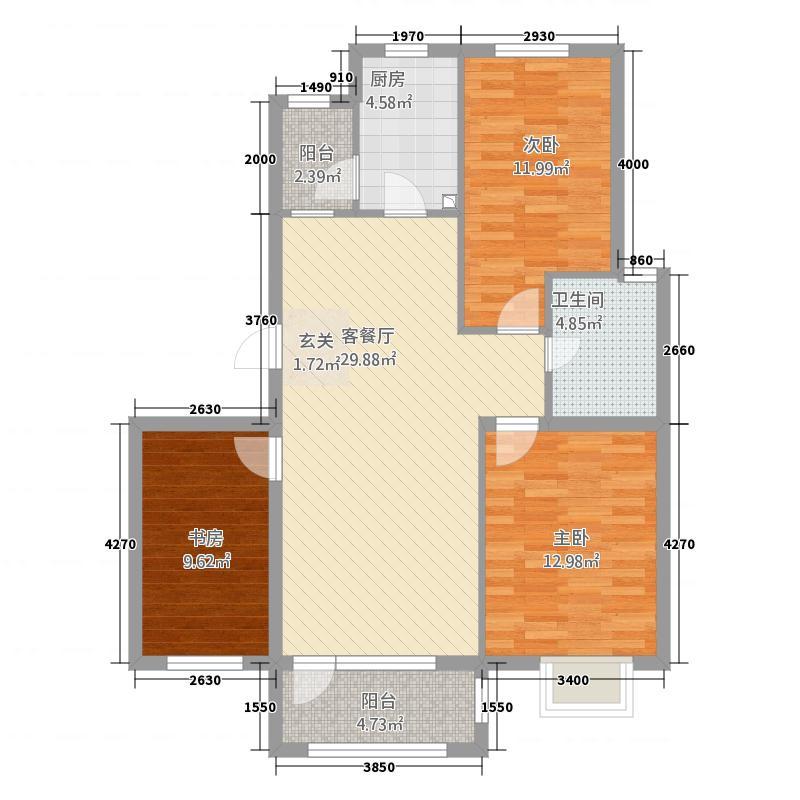 青教花园114.00㎡户型3室
