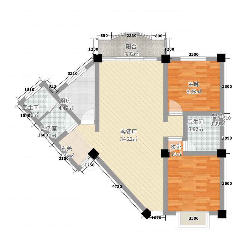 山水南苑2.00㎡A2户型2室2厅1卫1厨