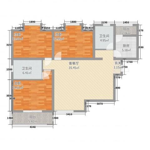 愚园公馆益都愉园3室1厅2卫1厨142.00㎡户型图