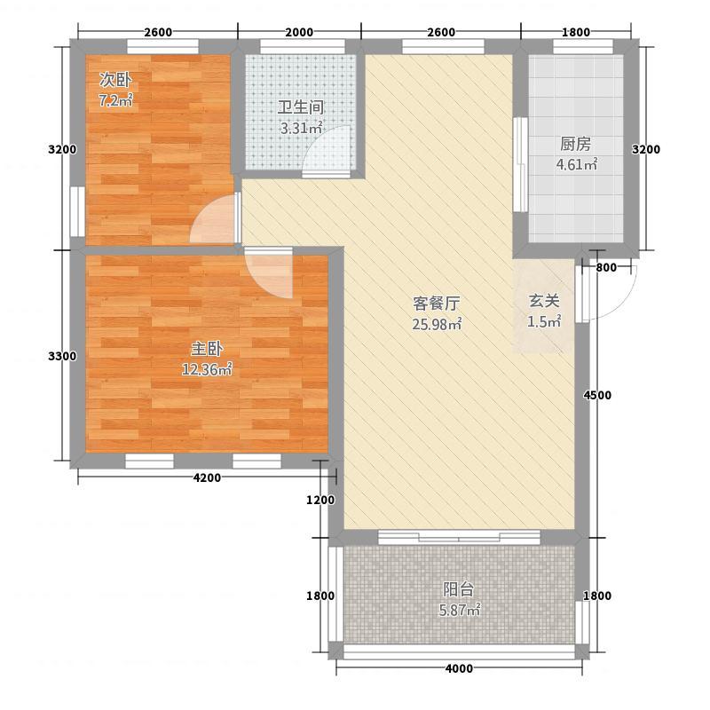 江景兰庭73.00㎡户型2室2厅1卫1厨
