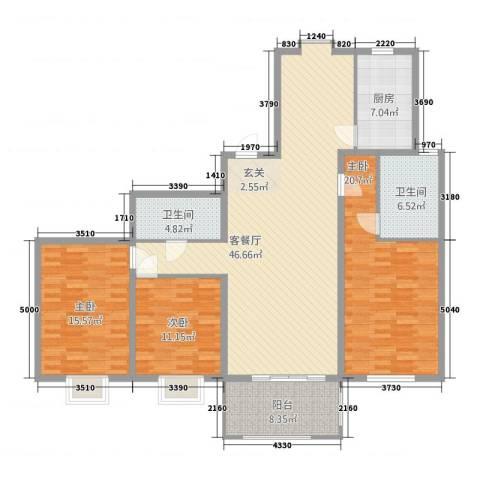 淮海新公馆3室1厅2卫1厨159.00㎡户型图