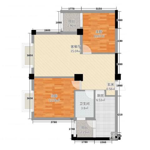 未来城2室1厅1卫1厨83.00㎡户型图