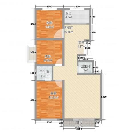 春铁家园3室1厅2卫1厨114.00㎡户型图