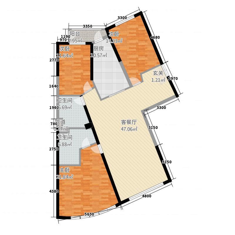 公园大道177.30㎡1#楼F户型3室2厅2卫1厨