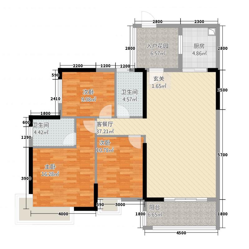 京界华府12.72㎡1、3、6、7栋01户型3室2厅2卫1厨