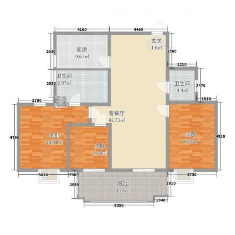 淮海新公馆3室1厅2卫1厨155.00㎡户型图