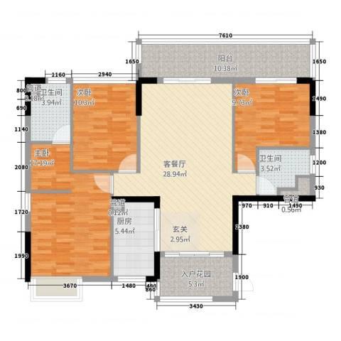 鼎湖森邻3室1厅2卫1厨135.00㎡户型图