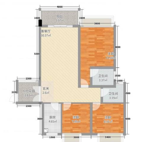 公园1号3室1厅2卫1厨81.71㎡户型图