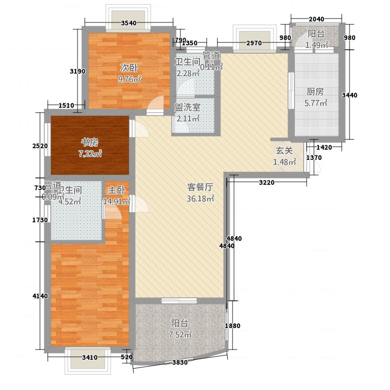 九九园133.20㎡九九园户型图3室2厅2卫1厨户型10室