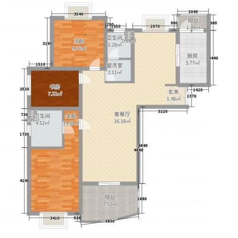 九九园3室2厅2卫1厨133.00㎡户型图