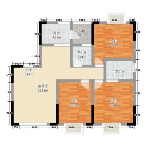 七彩城顺兴苑3室1厅2卫1厨5113.00㎡户型图