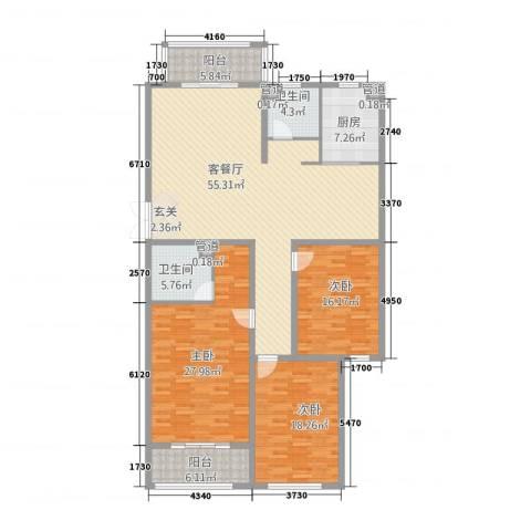 泰和・水岸嘉园3室1厅2卫1厨207.00㎡户型图