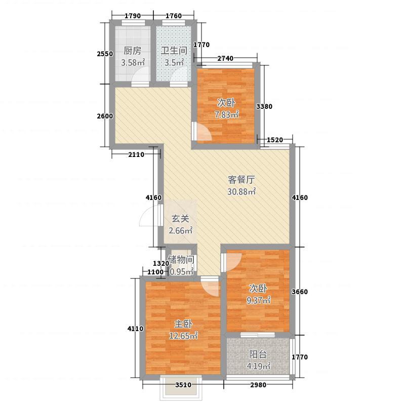 明福苑15.78㎡C户型3室2厅1卫1厨