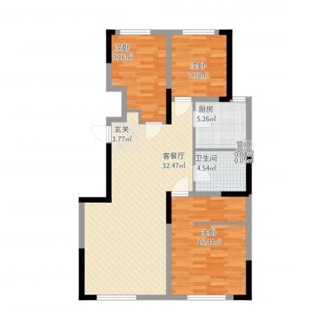 中海凤凰熙岸3室1厅2卫2厨108.00㎡户型图