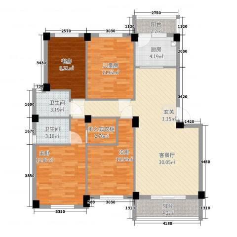 美中城3期4室1厅2卫1厨132.00㎡户型图