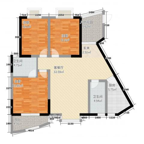 东方阁3室1厅2卫1厨33124.00㎡户型图