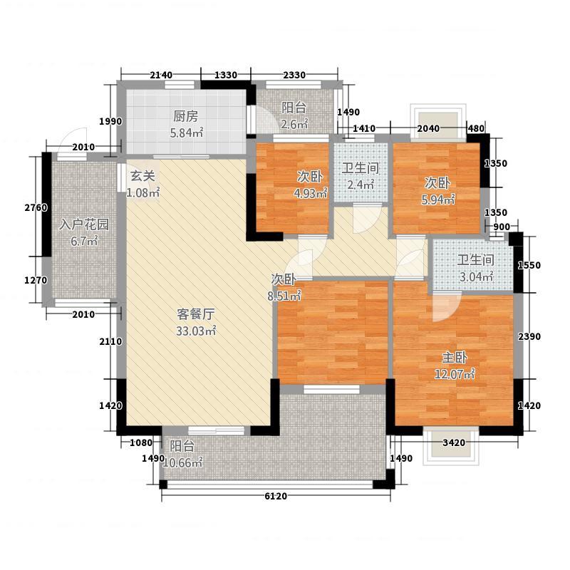 发现美院136.45㎡2座4栋01单位户型4室2厅2卫1厨