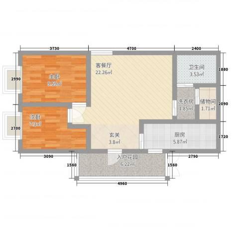 中力广场2室1厅1卫1厨81.00㎡户型图