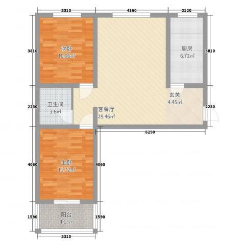 柳墅新城2室1厅1卫1厨66.60㎡户型图