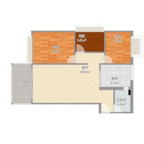 锦丽居3室1厅1卫1厨97.00㎡户型图