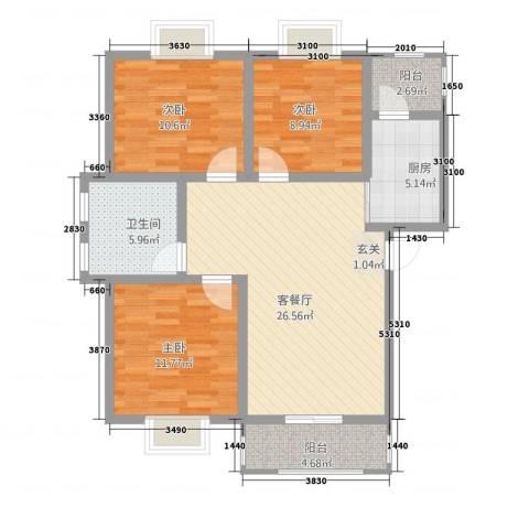 香山听语二期3室1厅1卫1厨76.34㎡户型图