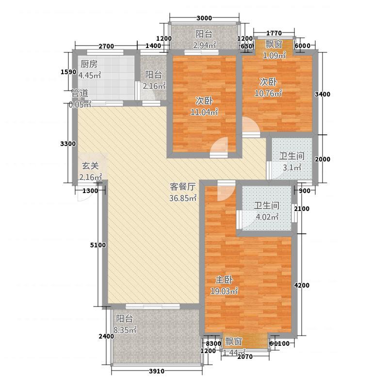 碧水云天12.16㎡F户型3室2厅2卫1厨