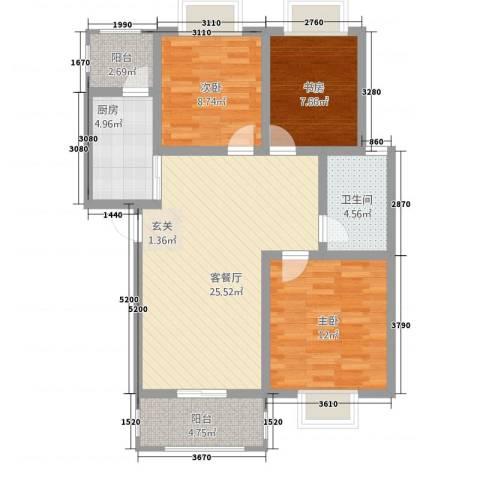 香山听语二期3室1厅1卫1厨70.88㎡户型图