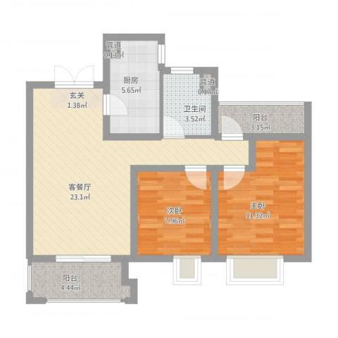 世茂国际广场2室1厅1卫1厨87.00㎡户型图