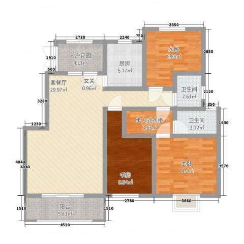 峰华都市花园3室1厅2卫1厨124.00㎡户型图