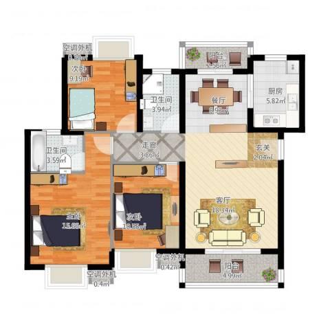 金星小区3室1厅2卫1厨127.00㎡户型图