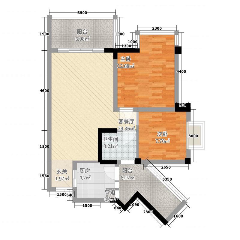恒大・青年城6282.42㎡AB-户型2室2厅1卫1厨