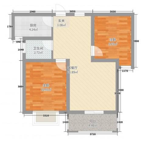 香山听语二期2室1厅1卫1厨76.00㎡户型图