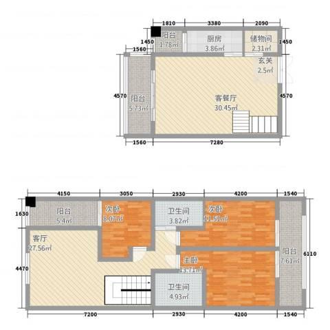 中力广场3室2厅2卫1厨126.68㎡户型图