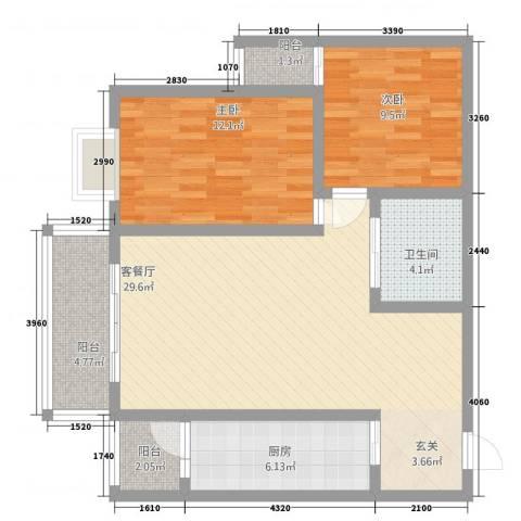 中力广场2室1厅1卫1厨69.56㎡户型图