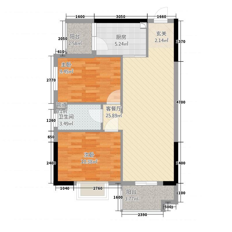 东新豪园87.00㎡2号楼08户型2室2厅1卫1厨