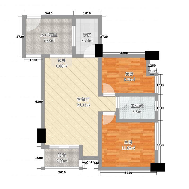 花园崇尚国际82.45㎡A6户型2室2厅1卫